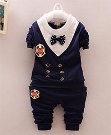 Pre Order - Superfie Mock Jacket & Bow Style Set - Navy