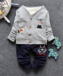 Pre Order - Superfie Mock Sweater Two Piece Set - Grey
