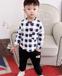 Pre Order - Superfie Plaid Printed Shirt With Pants Set - White Blue & Black