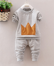 Pre Order - Superfie Crown Patterned T Shirt With Pants Set - Grey