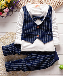 Pre Order - Superfie Mock Bow & Waistcoat With Pants - White & Navy