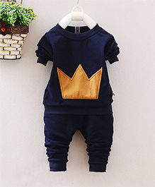 Pre Order - Superfie Crown Patterned T Shirt With Pants Set - Navy
