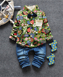 Pre Order - Superfie Printed Shirt With Bow & Pants Set - Green & Blue