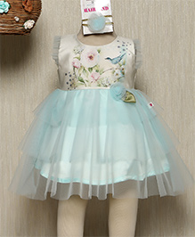 Rose Couture Floral Two Layered Dress With Hairband - Seagreen