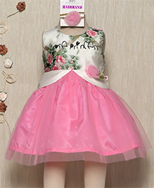 Rose Couture Stylish Flower Printed Dress With Hairband - Pink