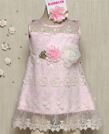 Rose Couture Shimmer Net Doll Dress With Hairband - Pink