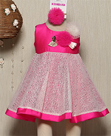Rose Couture Babydoll Flared Dress With Hairband - Pink
