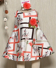Rose Couture Floral Doll Dress With Hairband - Peach