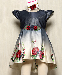 Rose Couture Floral Border Pleated Dress With Hairband - Navy Blue