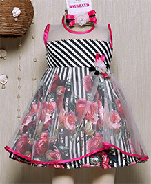 Rose Couture Bordered Floral Printed Dress With Hairband - Pink
