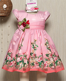 Rose Couture Floral Frilled Dress With Hairband - Pink