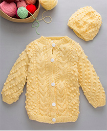 The Original Knit Knitted Sweater Set With Cap - Light Yellow