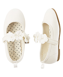 Carter's Floral Applique Belly Shoes - White
