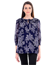 Oxolloxo Three Fourth Sleeves Maternity Top Floral Print - Blue