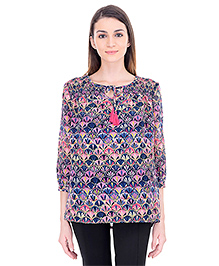 Oxolloxo Three Fourth Sleeves Maternity Chic Top Printed - Multi Color