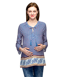 Oxolloxo Three Fourth Sleeves Maternity Tunic With Front Tie Up - Blue