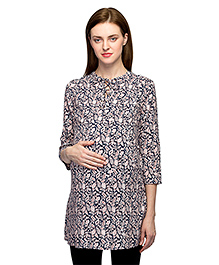 Oxolloxo Three Fourth Sleeves Maternity Tunic Floral Print - Pink Black
