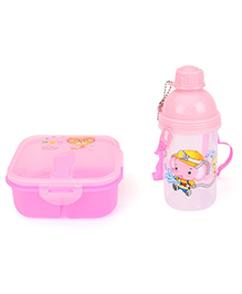 Lunch Box And Water Bottle Set  I Am Your Friend Printed - Pink