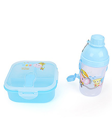 Lunch Box And Water Bottle Set Friend Print - Blue