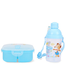 Lunch Box And Water Bottle Set I Am Your Friend And Smile Printed - Blue