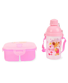 Lunch Box And Water Bottle Set Bear And Smile Printed - Pink
