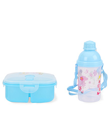 Lunch Box And Water Bottle Set Cartoon Printed - Light Blue