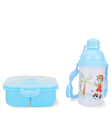 Square Lunch Box And Water Bottle - Blue & White