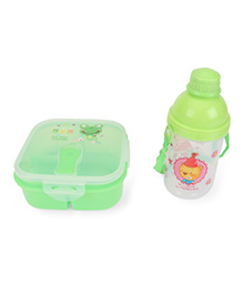 Square Lunch Box And Water Bottle Set Frog & Bear  Print - Green