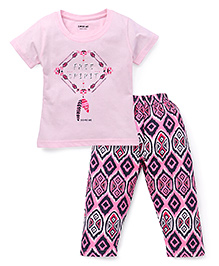 Doreme Half Sleeves Night Suit Free Spirit Print - Pink