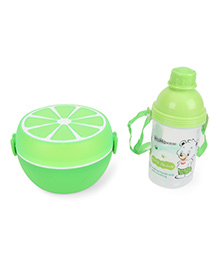 Round Lunch Box And Water Bottle Set - Green