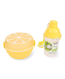 Round Lunch Box And Water Bottle Set - Yellow