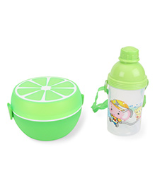 Round Lunch Box And Water Bottle Set Happy Firemen Print - Green