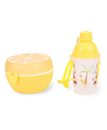 Round Lunch Box And Water Bottle Set Tree Print - Yellow