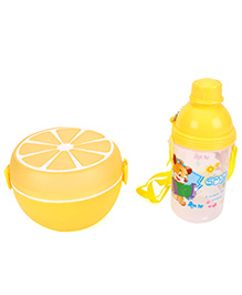 Round Lunch Box And Water Bottle Set Smile Print - Yellow