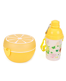 Round Lunch Box And Water Bottle Set Cartoon Print - Yellow