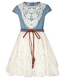 Stylestone Dress With Denim & Crochet - Light Blue & White