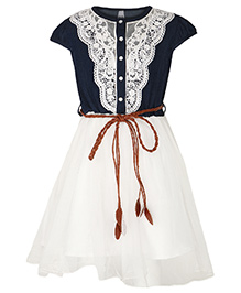 Stylestone Dress With Denim & Crochet - Blue & White