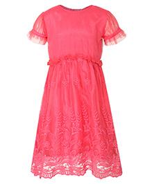Stylestone Flower Embroidered Net Lace Dress - Fuchsia Pink