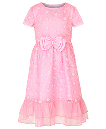 Stylestone Embroidered Net & Lace Dress With Bow Attached - Baby Pink