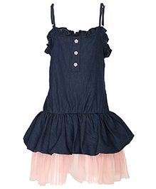 Stylestone Denim And Net Dress - Blue & Pink