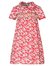 Stylestone Floral Printed Dress With Peter Pan Collars - Red & White