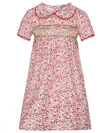 Stylestone Floral Printed Dress With Peter Pan Collars - Pink