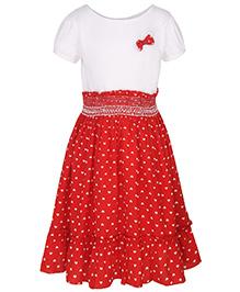 Stylestone Heart Printed Flare Dress - White & Red