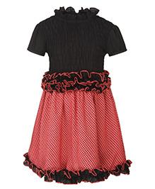 Stylestone Star Printed Flared Dress - Red & Black