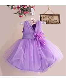 Pre Order - Awabox Flower On Waist With Pearl Embellishment Dress - Purple