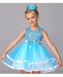 Pre Order - Awabox Bow Applique Sequinned Layered Dress - Blue