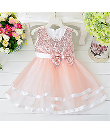 Pre Order - Awabox Bow Applique Sequinned Layered Dress - Pink