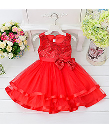 Pre Order - Awabox Bow Applique Sequinned Layered Dress - Red