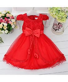 Pre Order - Awabox Princess Cut Dress With At Waist - Red