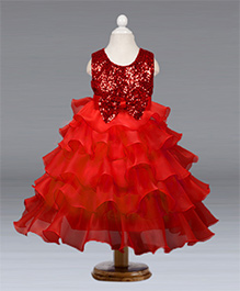 Pre Order - Awabox Glittery Yoke With Bow On Waist Layered Party Dress - Red